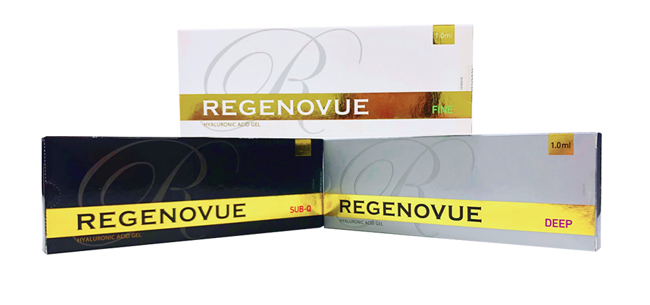 regenovue hyaluronic acid gel with lidocaine, Hyaluronic Acid Based dermal filler with lidocaine to reduce pain and swelling, applied for improving skin structure, face and nose contouring
